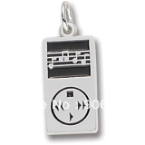 Best-selling Free Shipping 100pcs a lot rhodium plated mp3 player charm has black enamel paint(China (Mainland))