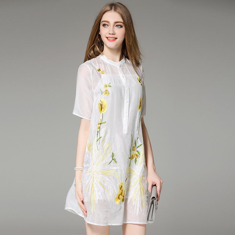 new designer dress summer 2016 women stand collar fl embroidery