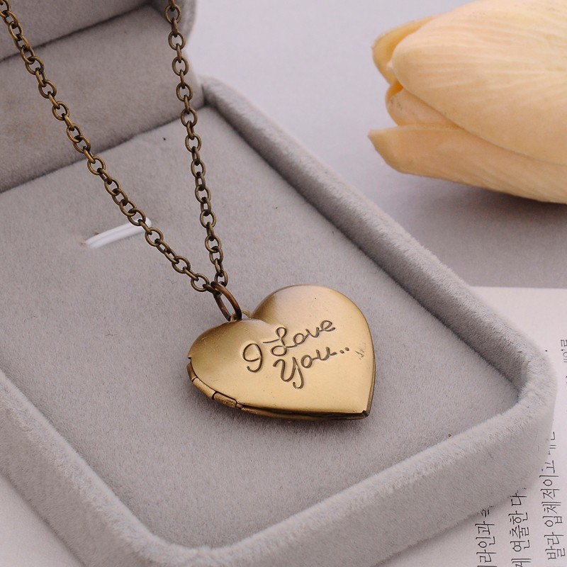 Vintage Gift For Lover Couples Custom Message Necklace Pendant - Bronze
