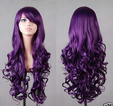 Hot! charming Long Dark Purple Hair Curly Cosplay wig(China (Mainland))