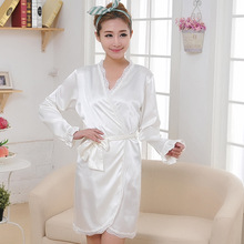 free shipping 2016 summer style robes bathrobe for women's new arrival satin silk lace plus size bridesmaid robes nightwear hot(China (Mainland))