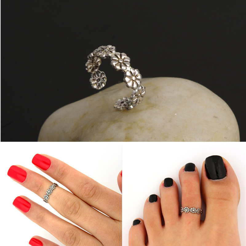 2015 New Design Handmade Vintage Carved Flower Ring Foot Beach Toe Joints Luck Jewelry For Women Opening Finger Ring(China (Mainland))