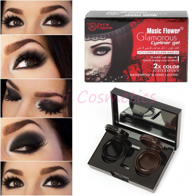 Pro 2 Colors Waterproof Long lasting Eyeliner Gel Cream Eye Liner(China (Mainland))
