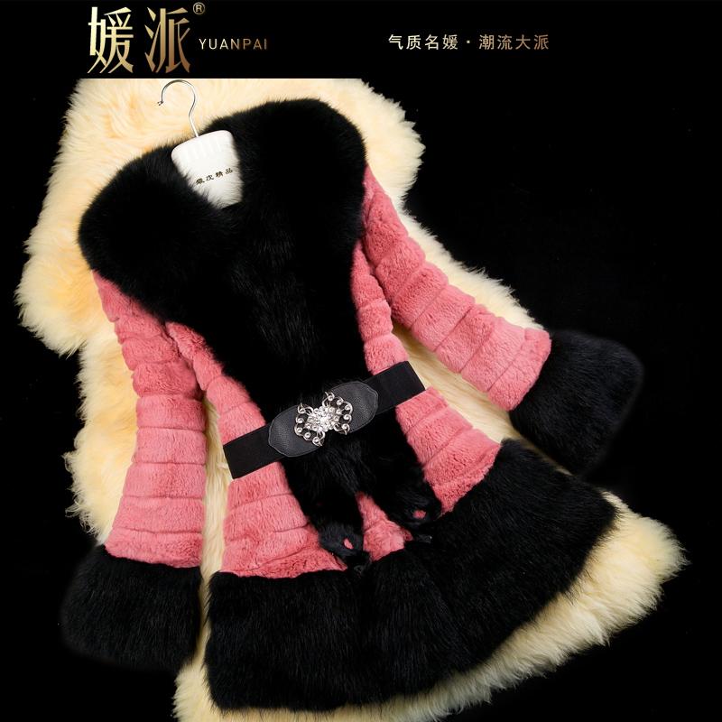 2013 Autumn and Winter Women's Real Rabbit Fur Coat Raccoon Fur Collar Hem Female Medium-long Outerwear VK2218