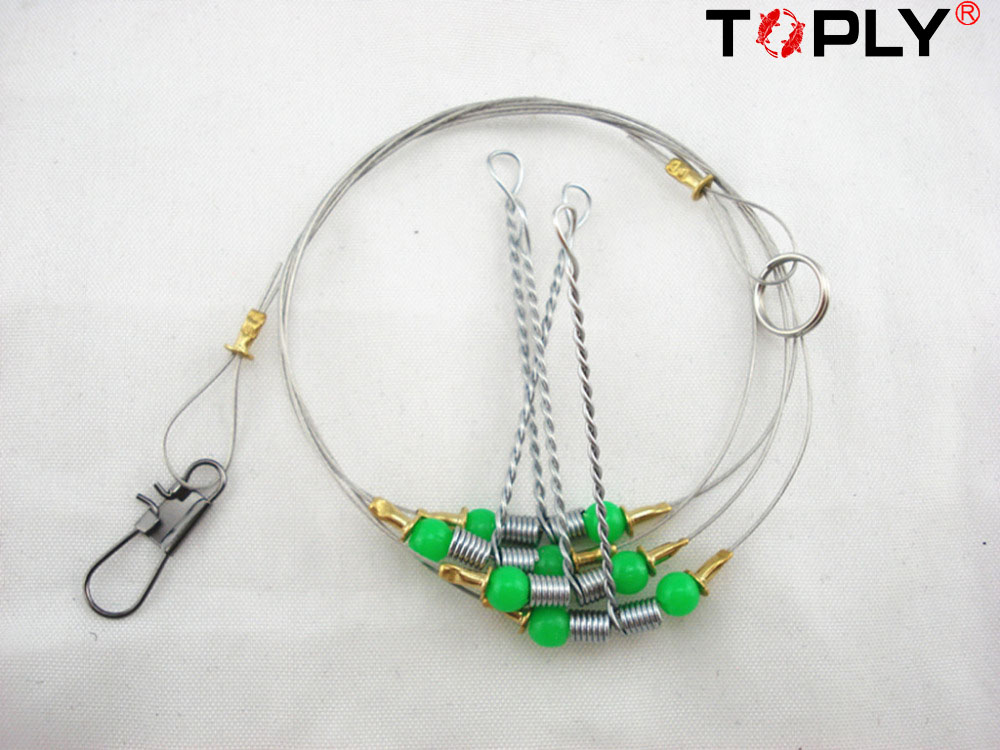 free shipping Stainless Steel 2 arms Wire Leader Fishing Rig Fishing Line Swivel Snap Hook Boom(China (Mainland))