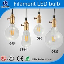 New design antique LED Filament Bulb Lamp E27 E26 G80 G95 G125 ST64 4W 6W 8W 360 degree Glass house energy-save indoor lighting(China (Mainland))