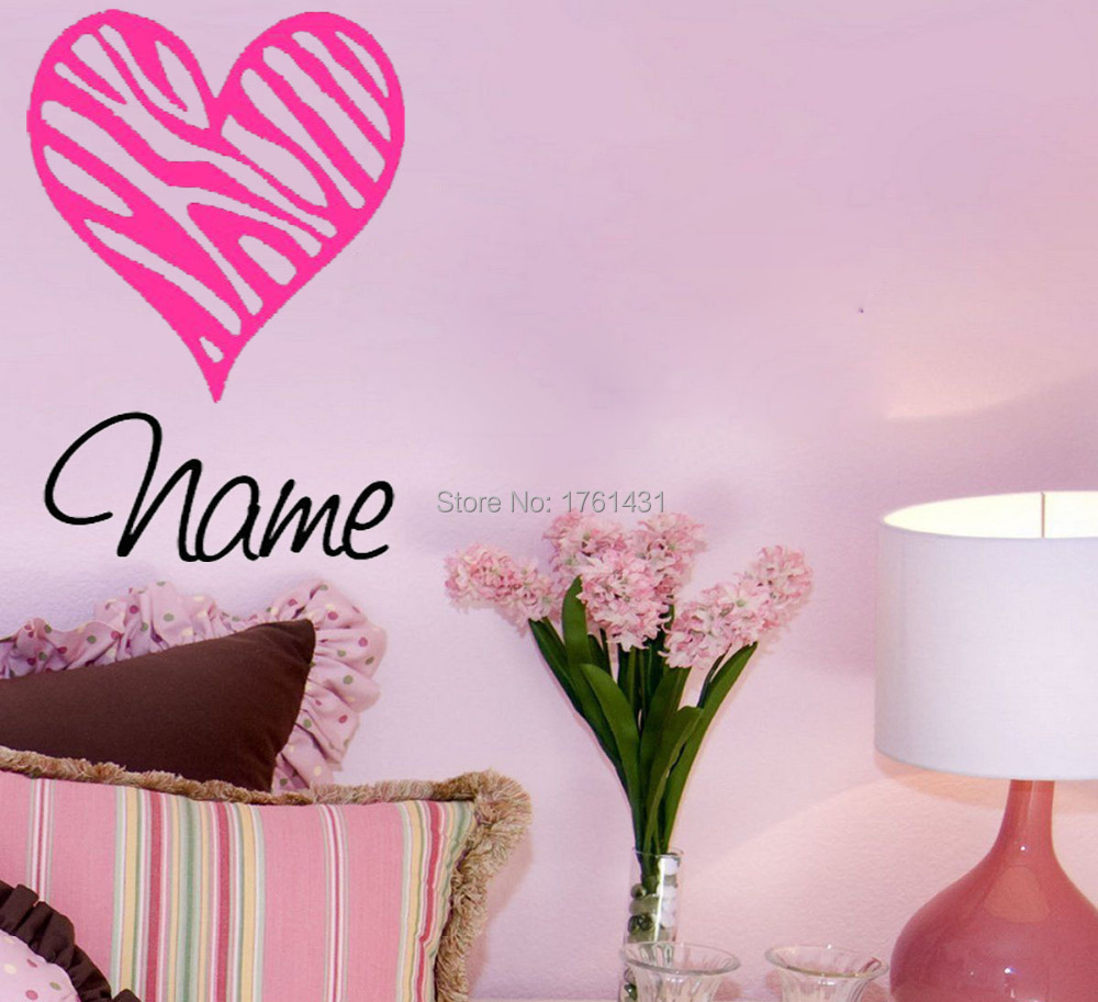 Zebra print heart with name home decoration wall art for Heart decorations home