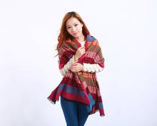 A274 2016 new year fashion women wool scarf women desigual plaid 7 color 195cm*135cm poncho echarpe foulard scarves
