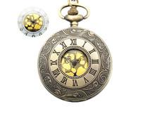 Dial:45mm Roman dual display gift antique pocket watch pocket watch retro quartz machinery for men and women(China (Mainland))