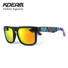 Kdeam Sport Sunglasses Men Reflective Coating Square Sun Glasses Women Brand Designer Oculos De Sol Zonnebril With Original Case(China (Mainland))