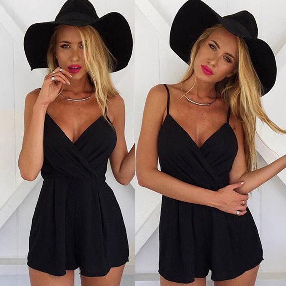 Feitong Women Jumpsuit 2016 Suit Fit Fashion Bodycon Black Bodysuit Women Shorts Feminino For Women Playsuit Strapless #LY18