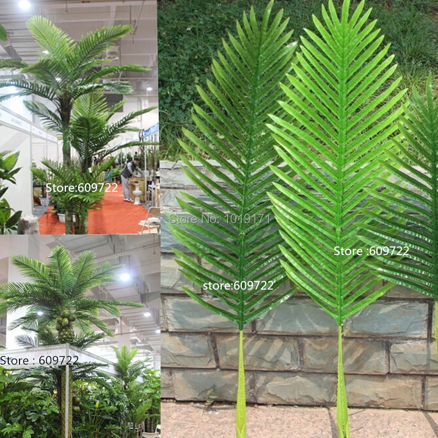 Large 104cm Latex Wedding Home Furniture Decor Outdoor Patio Sago Artificial Phoenix Coconut Palm Plant Tree Branch Leaf Green(China (Mainland))