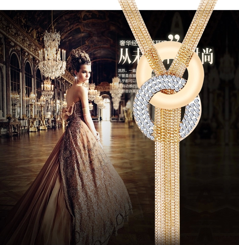 Long Tassel Necklace Pendants Multilayer Women High Quality Necklace 18K Gold Plated Austrian Crystal Sweater Chain necklaces(China (Mainland))