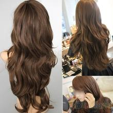 New Sexy Womens Girls Fashion Style Wavy Curly Long Hair Human Full Wigs Colors  01TK 2TI1(China (Mainland))