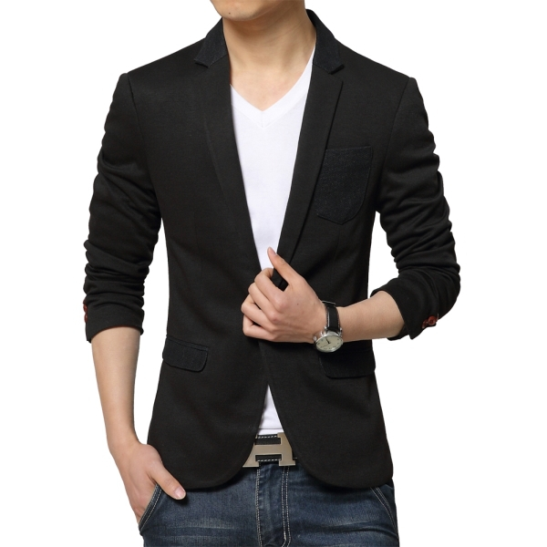 Best Selling 2015 Newest Men Blazers Single Button Design Size L-3XL Black / Red / Blue Man Suit Jackets Fashion Male Small Suit(China (Mainland))