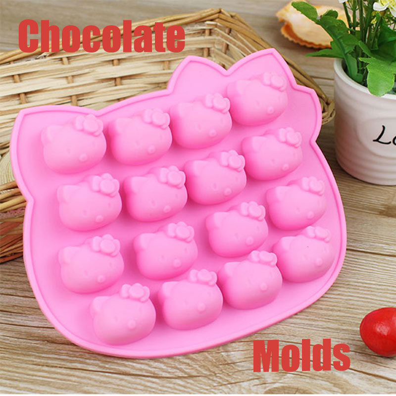New High Quality Ice Cube Mould Cake Bakeware Hello Kitty Silicone Fandont Chocolate Mold Cake Tools(China (Mainland))