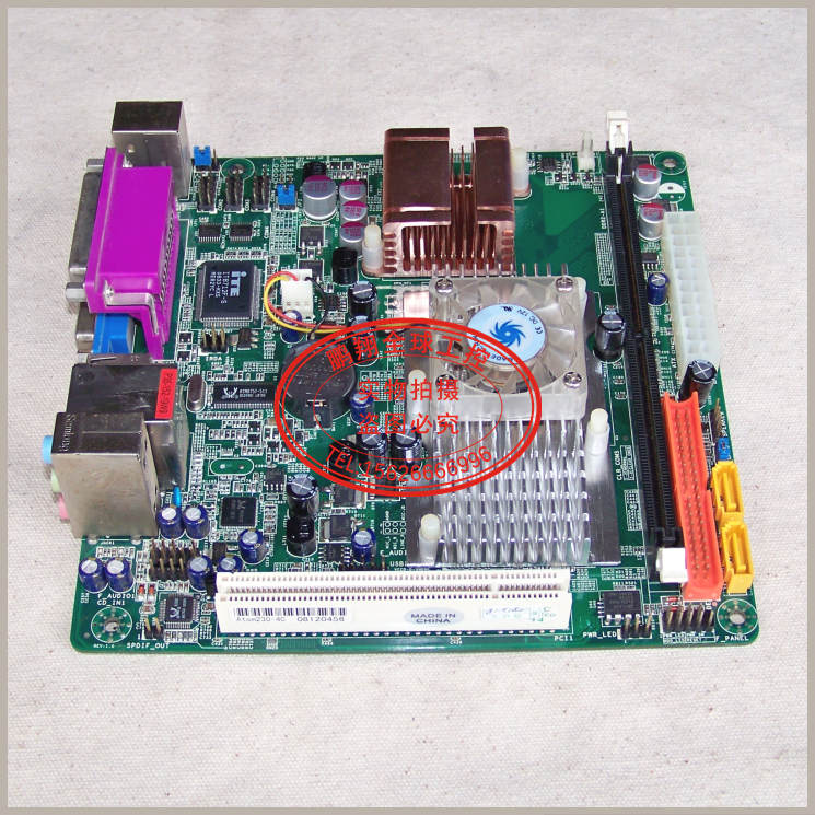 Free shipping Atom 230-4C motherboard IPC POS queuing machine ITX 4COM port Gigabit PCI IDE(China (Mainland))
