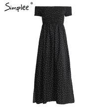 Buy Simplee Boho dot print shoulder long dress Vintage split short sleeve summer dress Women beach slim black maxi sexy dress for $14.99 in AliExpress store