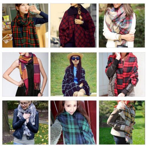 Lady Women Winter Large Blanket Oversized Shawl Plaid Check font b Tartan b font Scarf Wrap