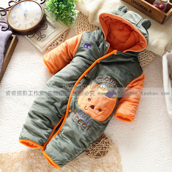 2015 new baby winter romper baby clothes newborn clothing cotton pumpkin autumn romper baby boy overalls(China (Mainland))