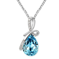 Water Drop Necklace Pendants Crystal from Swarovski Elements White Gold Plated Women High Quality Necklace Fashion Jewelry 8315