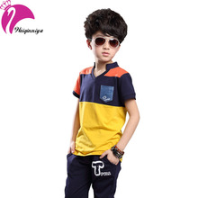 Summer Boys Clothing Sets 2016 Fashion New Brand Cotton Patchwork Tops+Casual Pants Suits Kids Tracksuit Infantis Hot