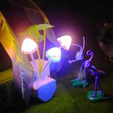 G104 Colorful Romantic LED Mushroom Night Light DreamBed Lamp Home Illumination EU plug  free shipping(China (Mainland))