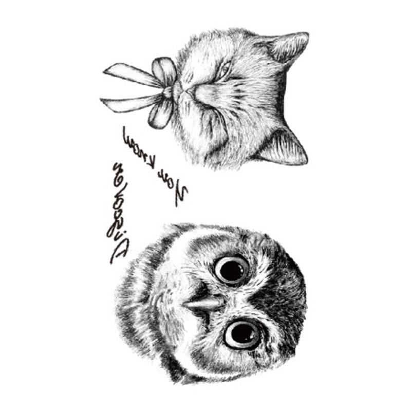 1PCS Body Art Cool Night Owl Tattoo Sleeve Cat Arm Decoration Waterproof Temporary Tattoo Stickers Transfer Fake Tattoo On Body(China (Mainland))