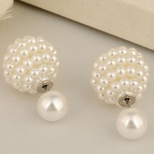 earings pearls double sided earring aros earring boucle d'oreille double pearl cute stud small earrings for women E1499-E1502(China (Mainland))