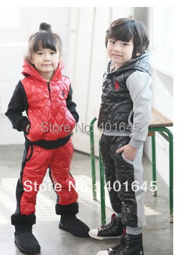 2016 winter item boy and girl thicken winter long sleeve suit hooded top+pant kids clothing set two colors(China (Mainland))