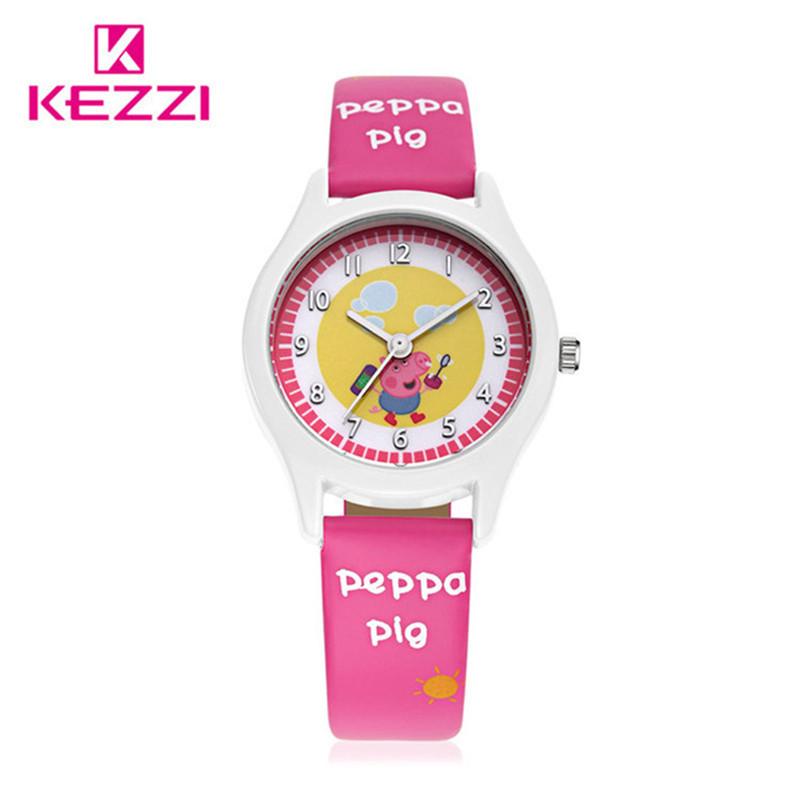 2016 KEZZI New Children Peppa pig Cartoon Watches Fashion Kids Student Cute Leather Sports Analog Wrist Watches relojes(China (Mainland))