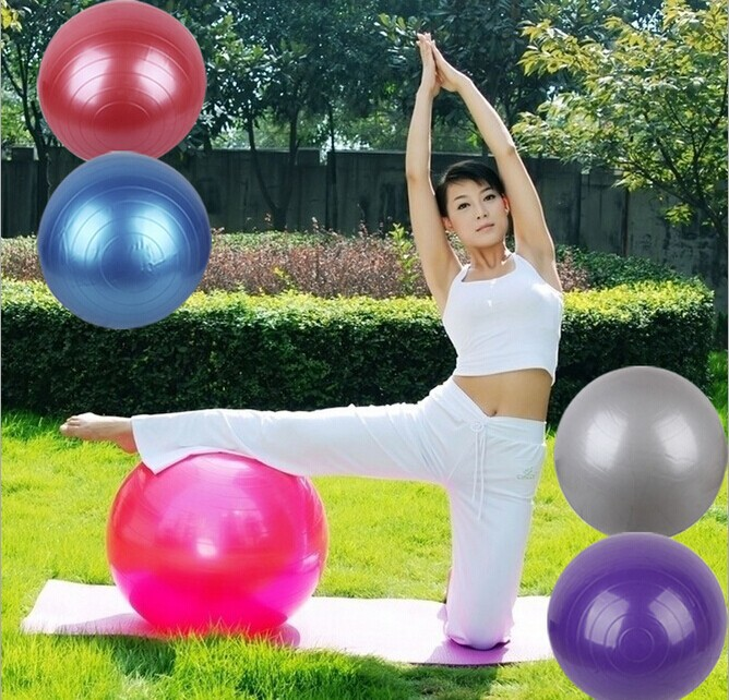 55cm Fitness ball Swiss Yoga ball Home Gym Exercise Pilates Equipment Fitness Ball Pump 5Colors Fitness Equipment(China (Mainland))