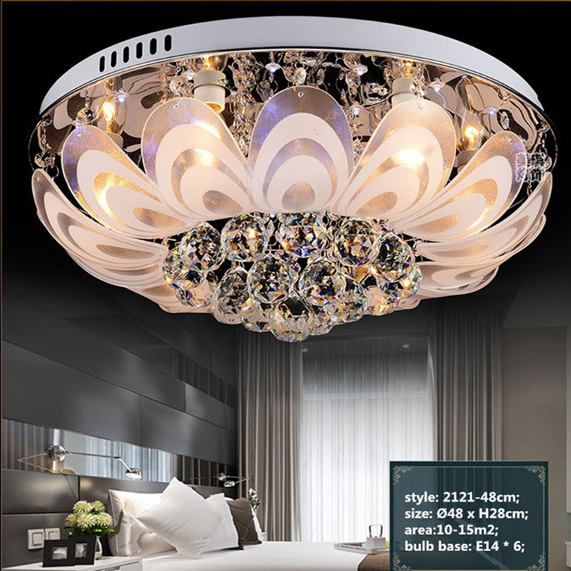 2015 Modern Simple LED Ceiling Light Frosted Glass Ceiling Lamp Round Style K9 Crystal Ceiling Light For Living Room Model 2121(China (Mainland))