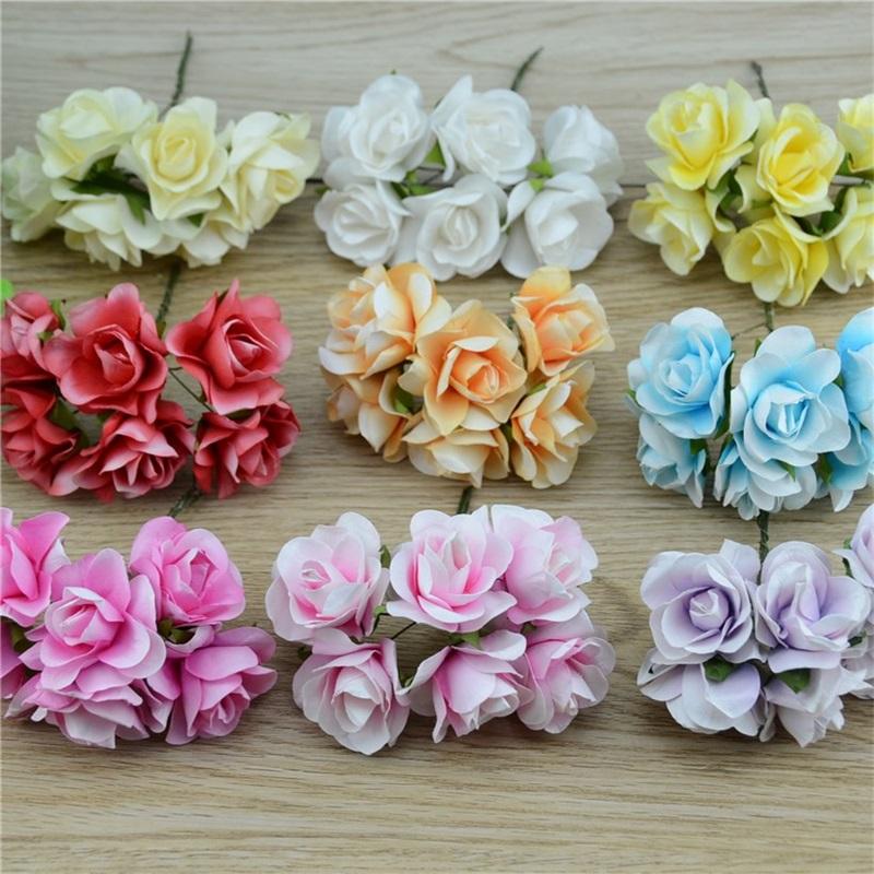 72pcs/lot 3.5cm Cheap Mini Paper Rose Flowers Bouquet Wedding Decoration For DIY Scrapbooking Large Fake Flowers Paper Flores(China (Mainland))