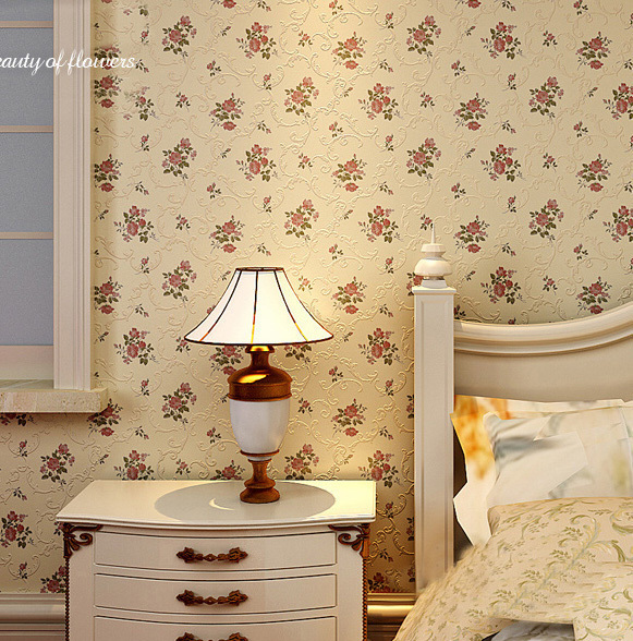 High Quality 3D Pastoral Flower Printed Flocking Non Woven self adhesive Wall paper Roll For Living Room Bedroom Wedding Room(China (Mainland))