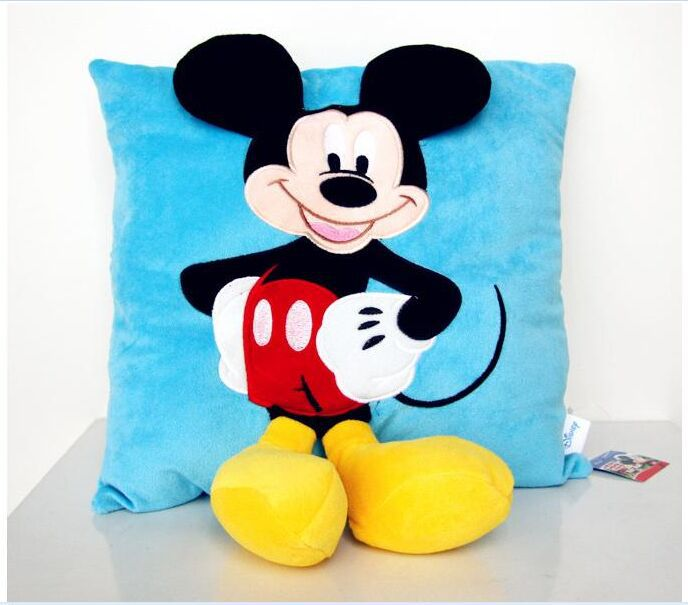 cute Mickey pillow toy plush blue mickey pillow doll wedding gift about 35x35cm(China (Mainland))