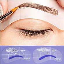Hot New Useful Women Eyebrow Model Drawing Style Model Grooming Stencil Template Shaping Shaper Beauty 126(China (Mainland))