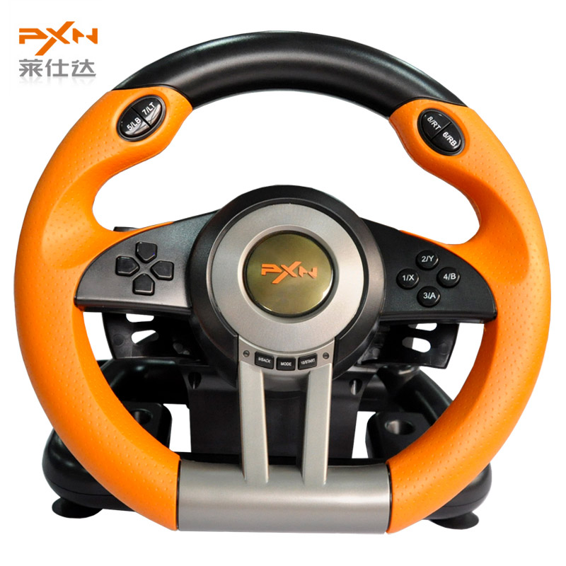 Litestar PXN-V3II Illusiveness Computer Card USB Wired Vibration Motor Racing Game Steering Wheel Yellow For Games Lover(China (Mainland))