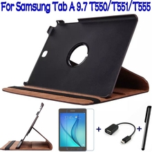 4 in 1 Stand Folding PU Leather Cover Case for Samsung Galaxy Tab A 9.7 T550 T555 Tablet +Free Screen Protector+OTG+Stylus Pen(China (Mainland))