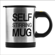 Stainless Lazy Self Automatic Stirring Mug Auto Mixing Tea Coffee Cup Office Gifts Black