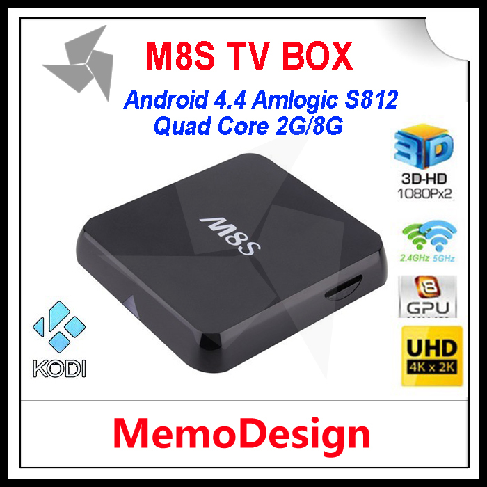 10pcs/lot 2015 M8S Smart Android TV Box 4K Rooted KODI 14.2 Fully Loaded Amlogic S812 Quad Core 2GB RAM 8GB ROM IPTV Stream(China (Mainland))