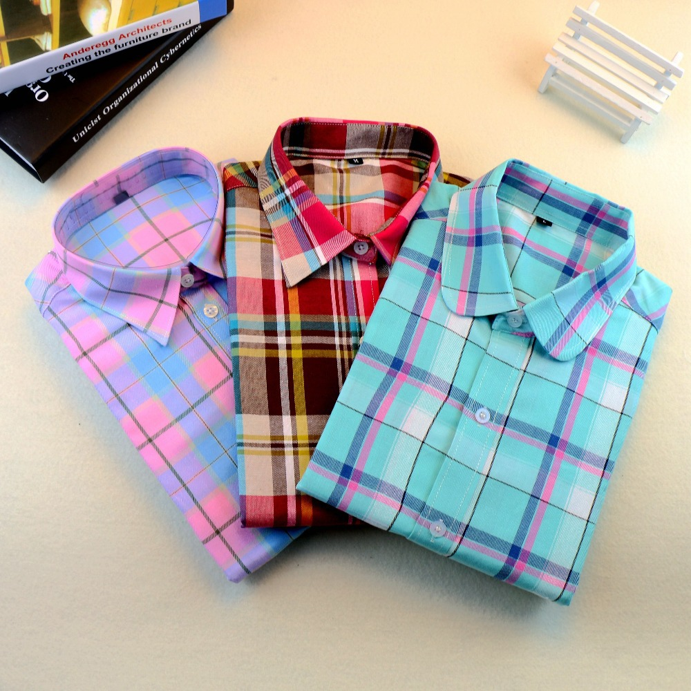 Brand New 2015 Fashion Women Blouses Long Sleeve Turn-down Collar Plaid Shirts Women Casual Cotton Shirt Style Blusas Femininas(China (Mainland))