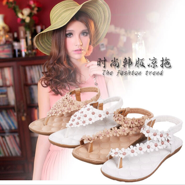 Brand New Bohemia Beaded Rhinestone Sandals Fashion Women Summer Flats Casual Shoes / EUR Size 34-39 Flip Flops - Led store