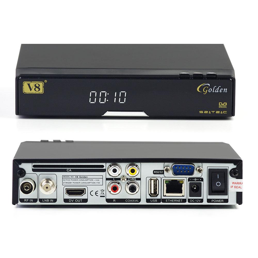 5Pcs/L Openbox V8 Golden Satellite Receiver DVB-S2+T2/C Combo HD Digital Decoder IPTV set top box support CCCAM Powervu Patch CA(China (Mainland))
