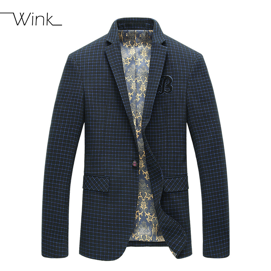 Mens blazer Luxury Suit Stylish Casual Male Jacket Blue Plaid Spring Autumn Outwear Coat One Button Suits For Men Masculino E164