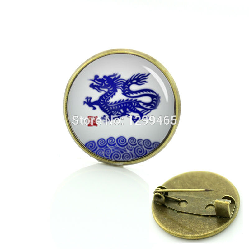 China blue and white Chinese zodiac picture brooches Chinese dragon pins Promotion exquisite logo creative badge C 1191(China (Mainland))