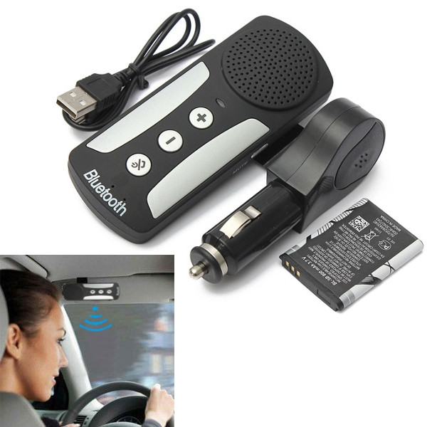 2015 New Wireless Bluetooth Handsfree Speakerphone Car Kit With Charger Sun Visor Clip Drive Talk For iPhone For Galaxy(China (Mainland))