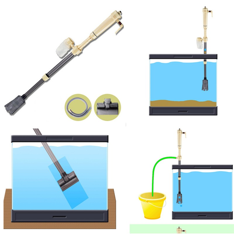Aquarium Fish Tank Vacuum Electric Motor Washing Sand Traps Straw Brush Cleaner Tool Siphon Water Filter(China (Mainland))