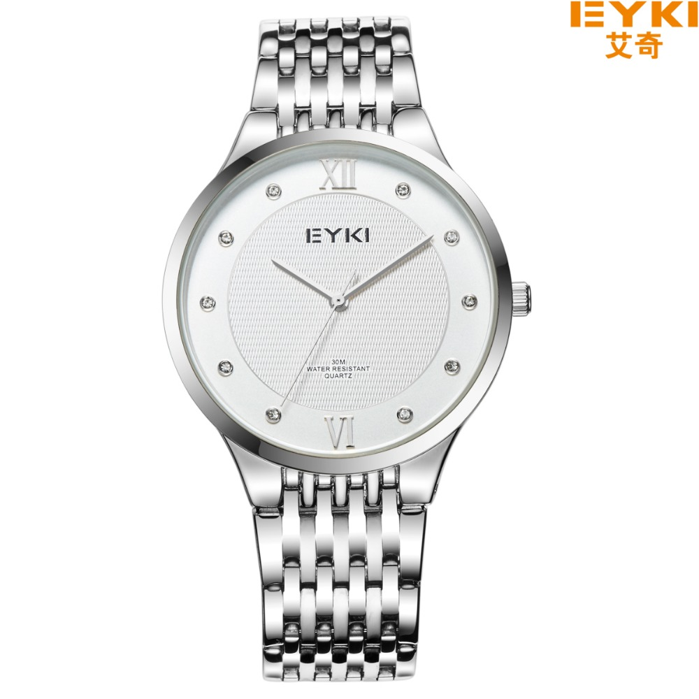 Brand EYKI 30M Waterproof  Fashion Couple Watchs Stainless Steel Strap simple Diamond Scale and NO Calendar  Loves Watch 2020 <br><br>Aliexpress
