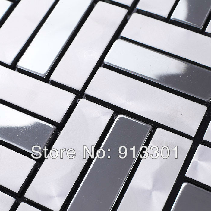 Metallic Mosaic Tiles Silver Grey Pattern Wholesale Bathroom Wall Tile Fls4804 Mesh Kitchen